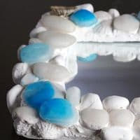 Coastal Pebble Mirror Blue Onyx | Coastal Bathroom Mirror